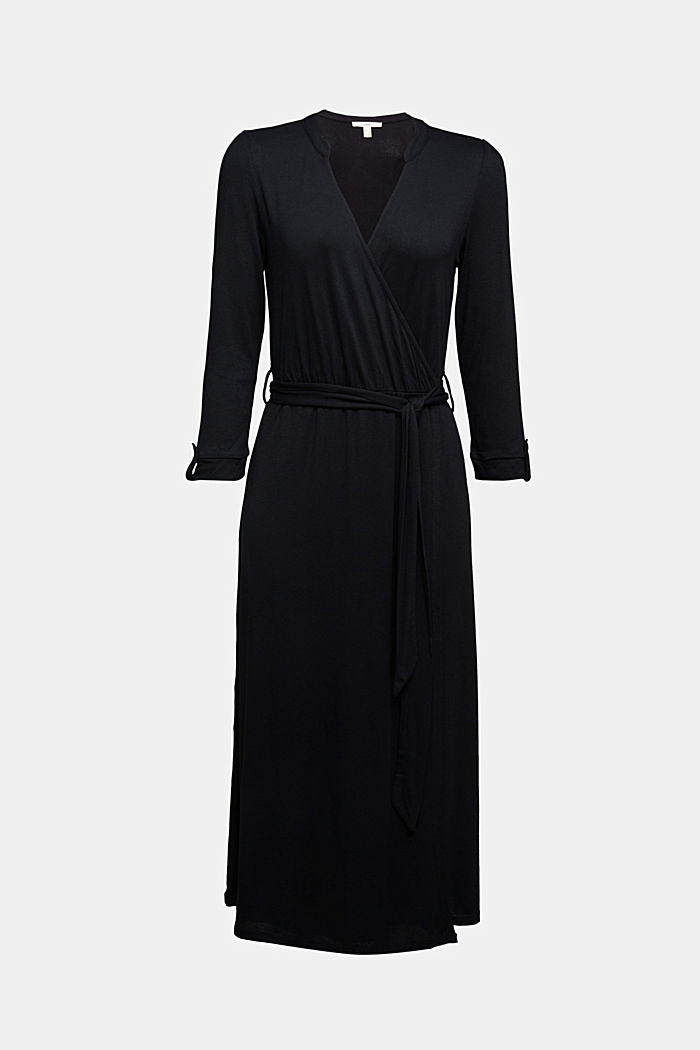 Midi wrap dress in jersey, BLACK, detail image number 6