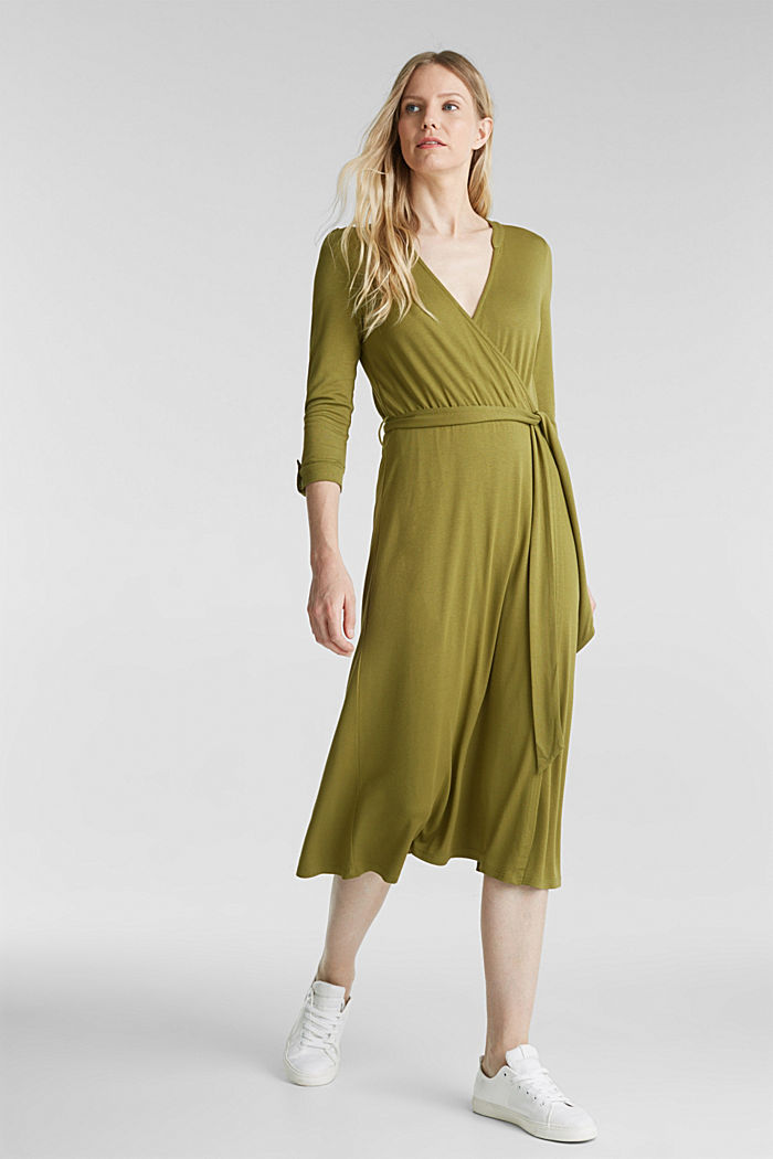 Midi wrap dress in jersey, OLIVE, detail image number 0