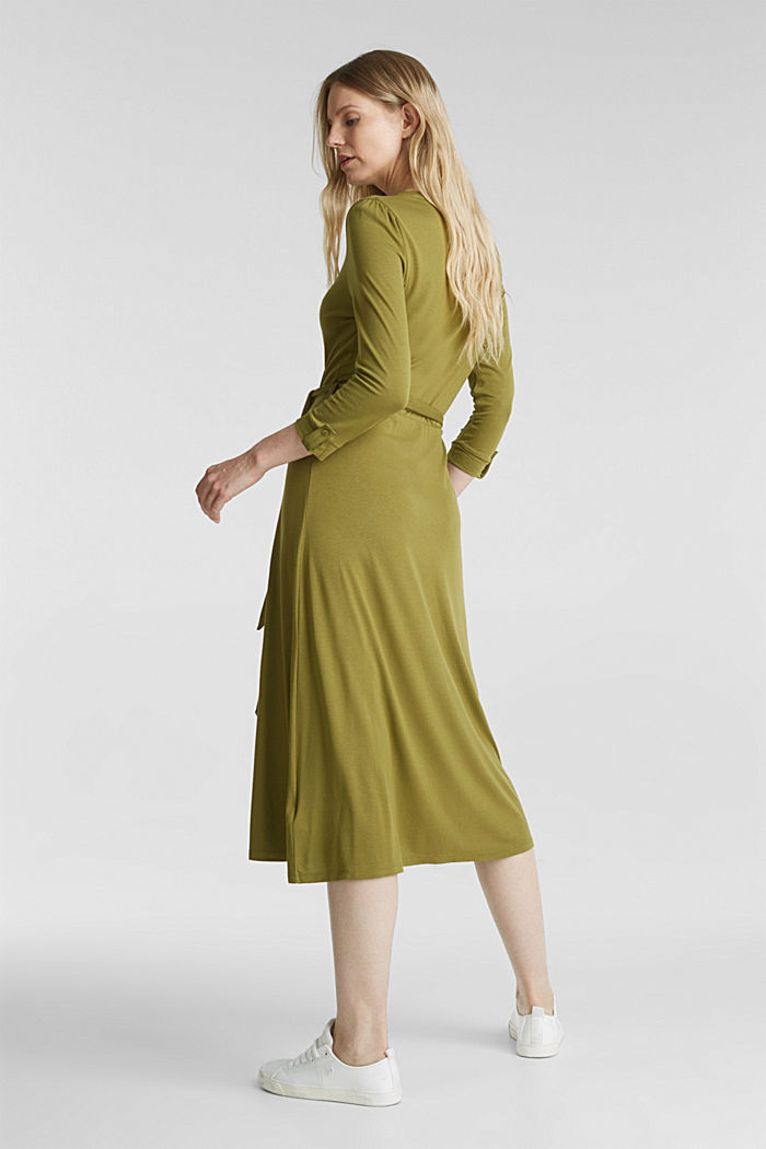 Midi wrap dress in jersey, OLIVE, detail image number 2