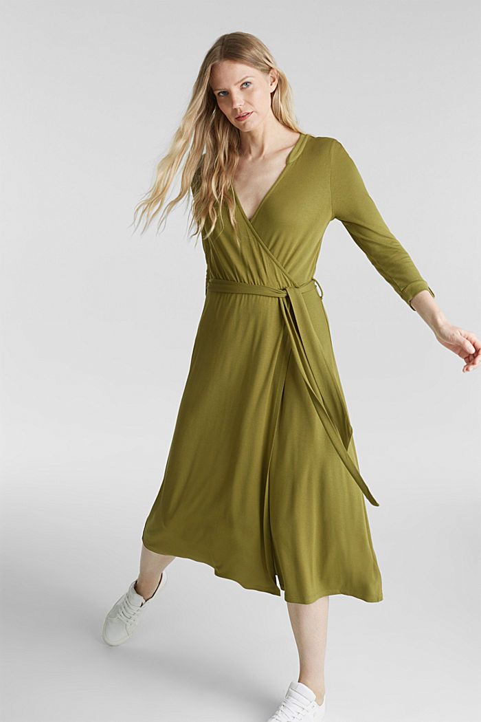Midi wrap dress in jersey, OLIVE, detail image number 1