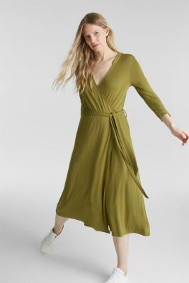 Midi wrap dress in jersey, OLIVE, detail