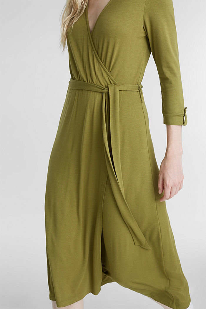 Midi wrap dress in jersey, OLIVE, detail image number 3