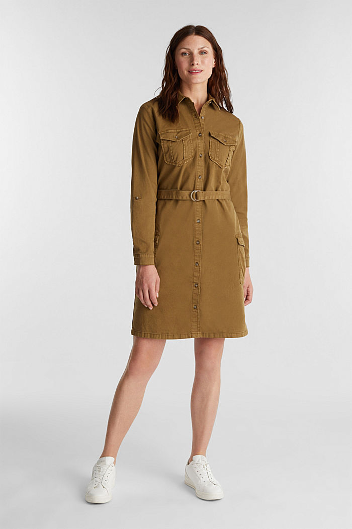 EarthColors® dress in a utility style, OLIVE, detail image number 0