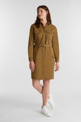 EarthColors® dress in a utility style, OLIVE, detail