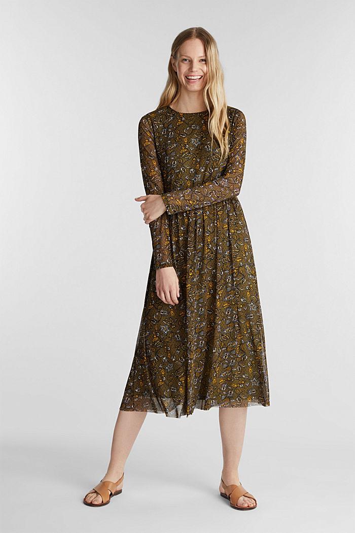 Mesh midi dress, OLIVE, detail image number 0