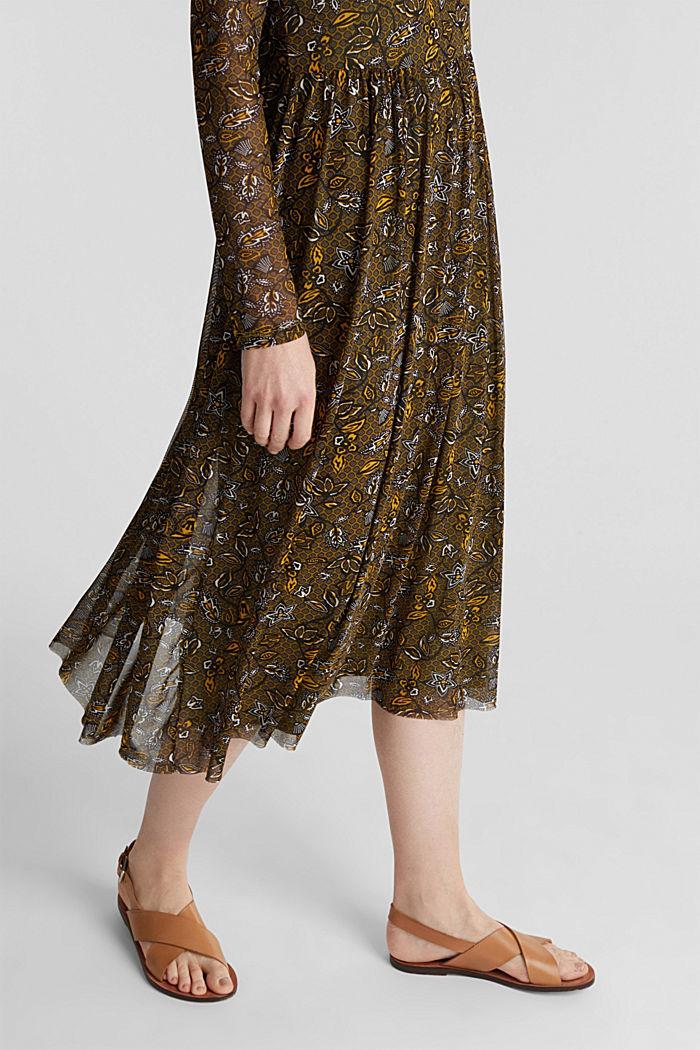 Mesh midi dress, OLIVE, detail image number 4