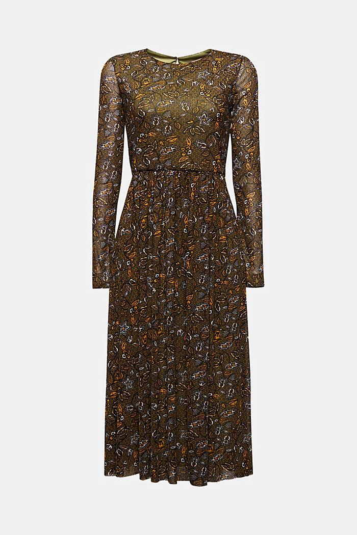 Mesh midi dress, OLIVE, detail image number 5