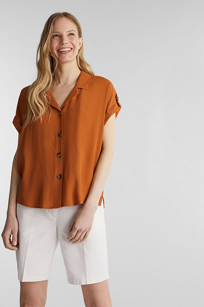Crêpe blouse containing LENZING™ ECOVERO™, RUST BROWN, detail image number 0
