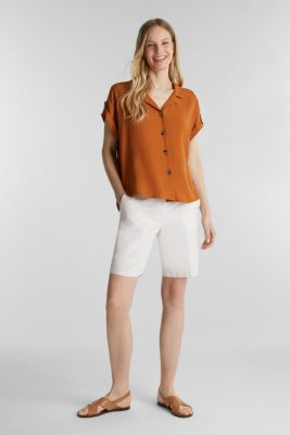 Crêpe blouse containing LENZING™ ECOVERO™, RUST BROWN, detail