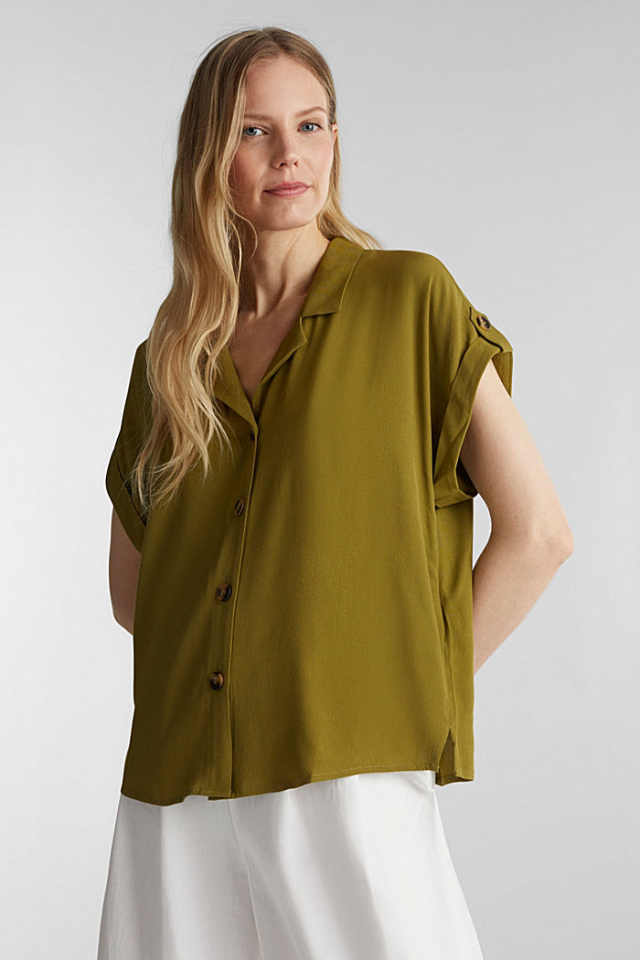 Crêpe blouse containing LENZING™ ECOVERO™, OLIVE, detail image number 0