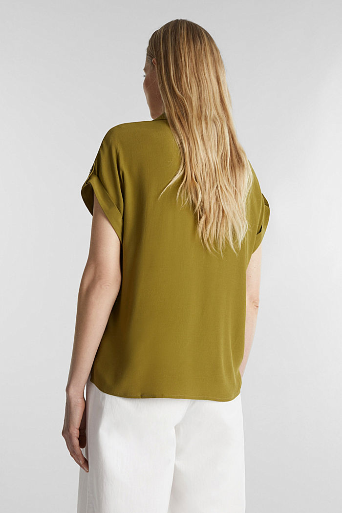 Crêpe blouse containing LENZING™ ECOVERO™, OLIVE, detail image number 3