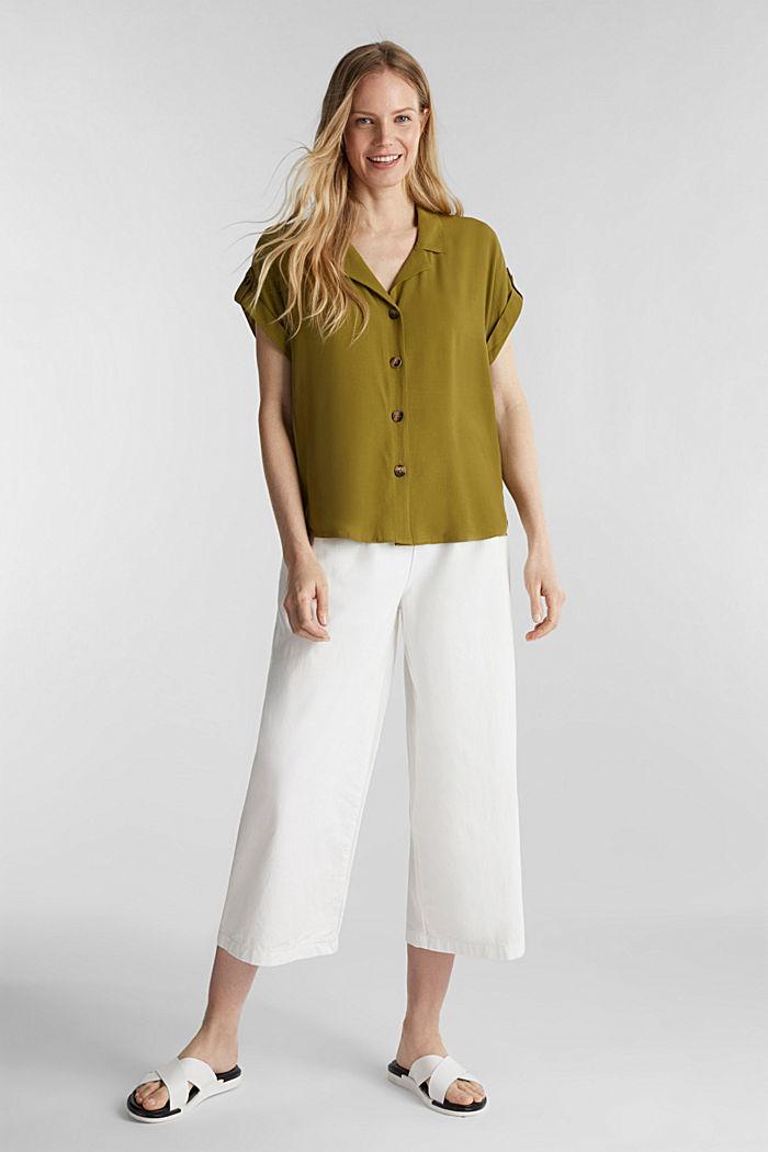 Crêpe-Bluse mit LENZING™ ECOVERO™, OLIVE, detail image number 1