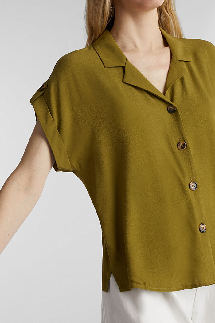 Crêpe blouse containing LENZING™ ECOVERO™, OLIVE, detail image number 2