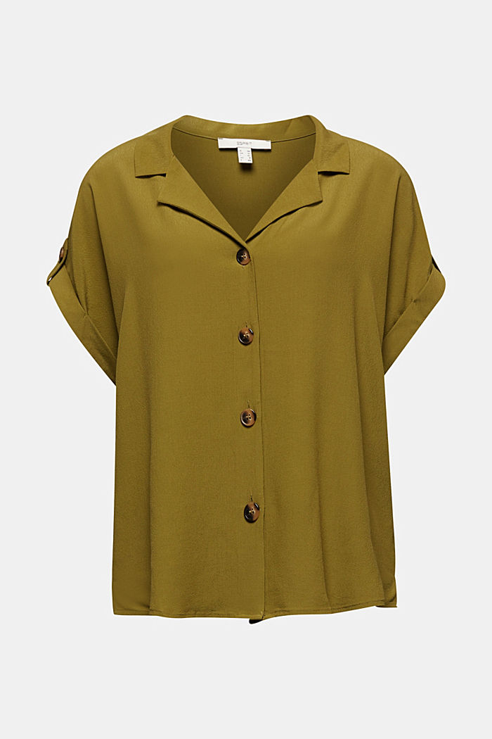 Crêpe blouse containing LENZING™ ECOVERO™, OLIVE, detail image number 5