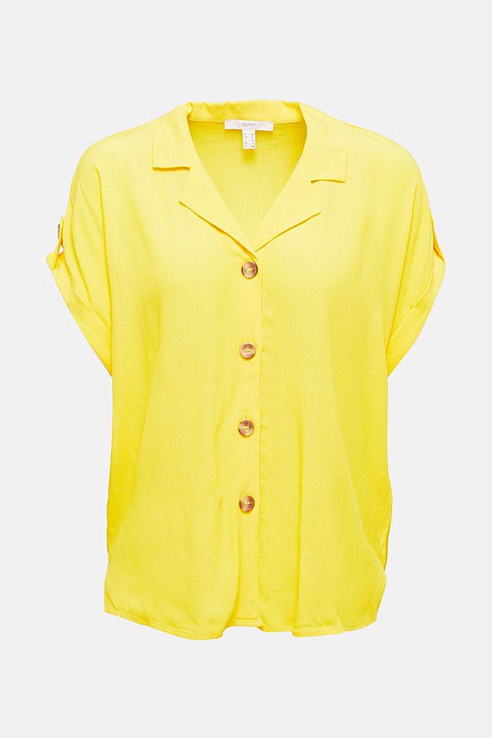 Crêpe-Bluse mit LENZING™ ECOVERO™, YELLOW, detail image number 5