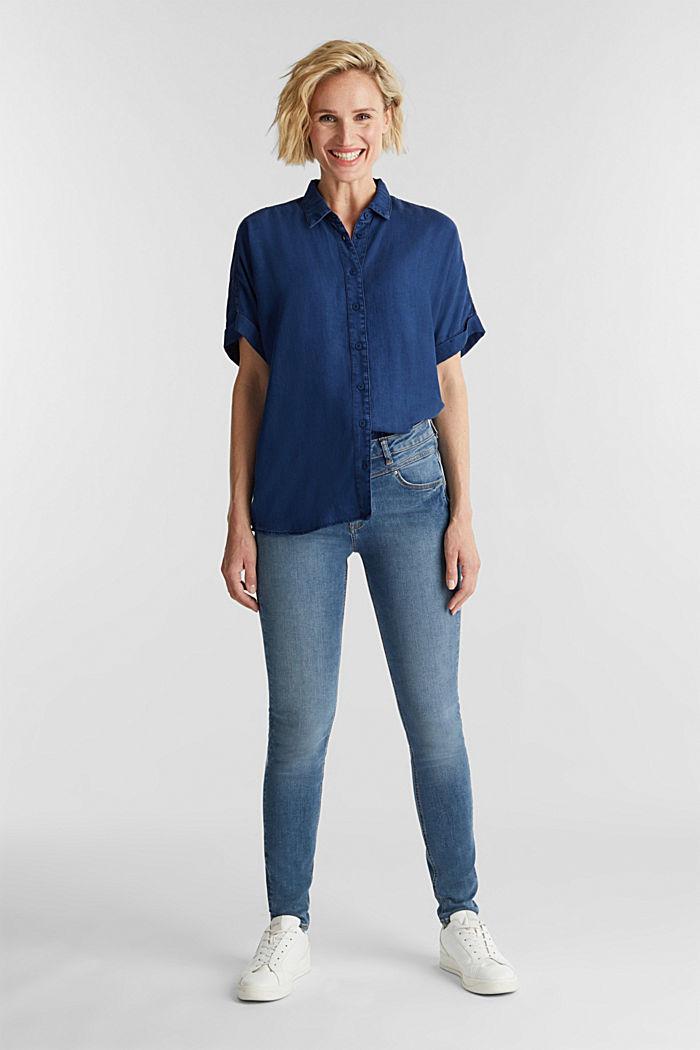 Blended lyocell: TENCEL™ blouse top, BLUE DARK WASHED, detail image number 1