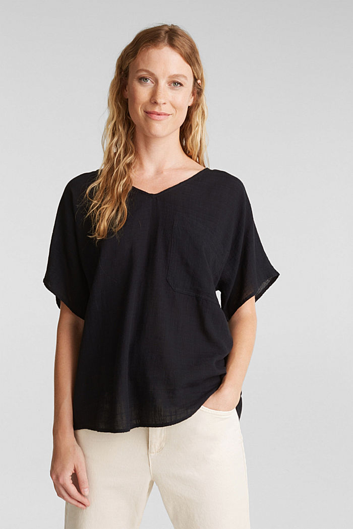 Blouse top with a V-neckline, BLACK, overview