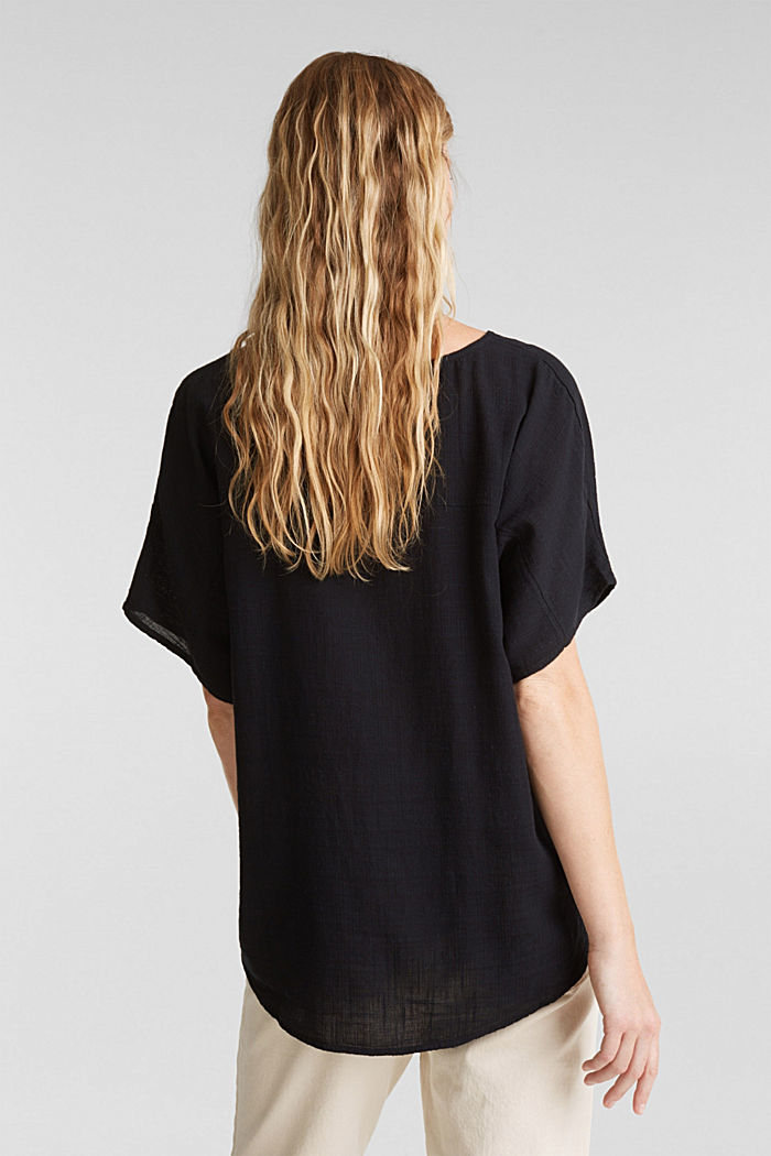 Blouse top with organic cotton, BLACK, detail image number 3