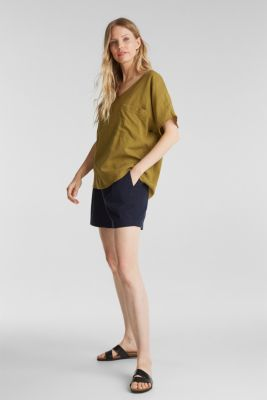 Blouse top with organic cotton, OLIVE, detail