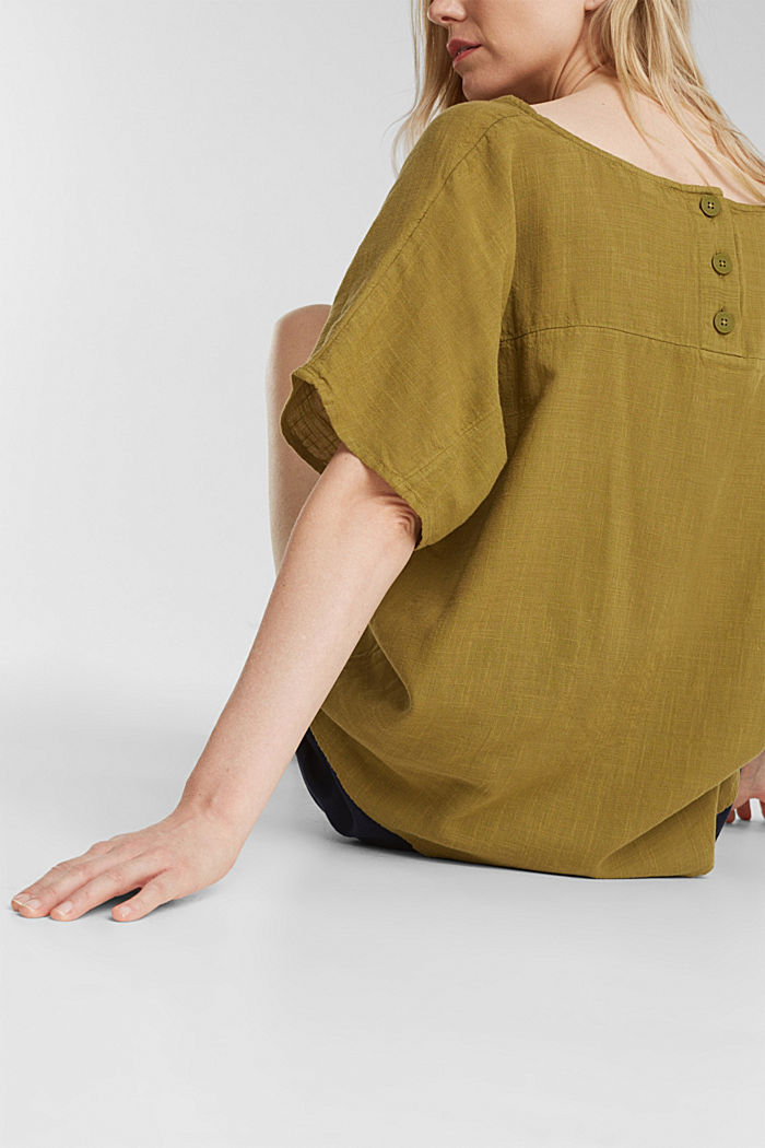 Blouse top with organic cotton, OLIVE, detail image number 2