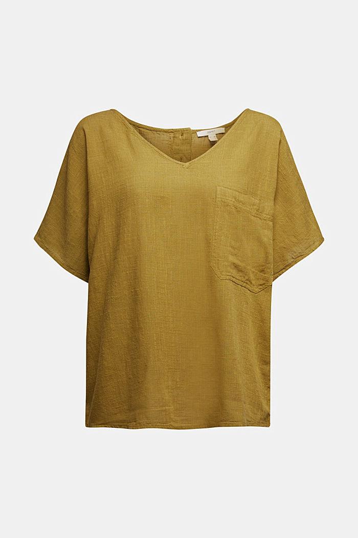 Blouse top with a V-neckline, OLIVE, detail image number 5