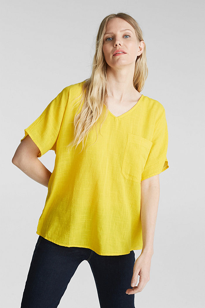 Blouse top with a V-neckline, YELLOW, detail image number 0