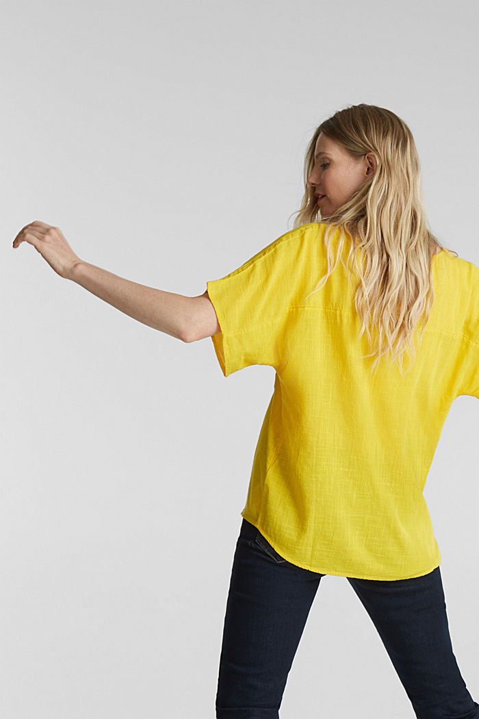 Blouse top with a V-neckline, YELLOW, detail image number 3