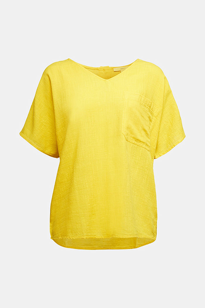 Blouse top with a V-neckline, YELLOW, detail image number 6