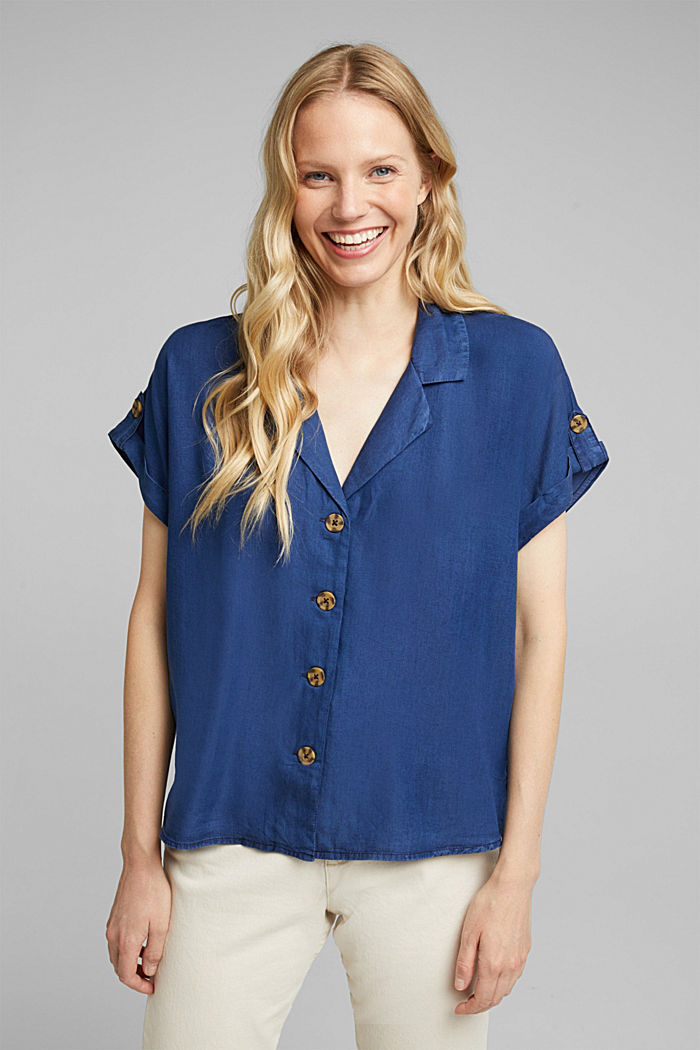 100% lyocell blouse, BLUE DARK WASHED, detail image number 0