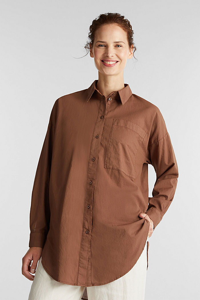 EarthColors® long blouse, organic cotton, RUST BROWN, detail image number 0