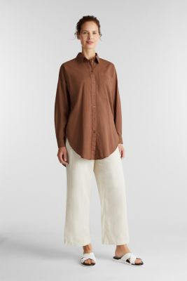 EarthColors® long blouse, organic cotton, RUST BROWN, detail