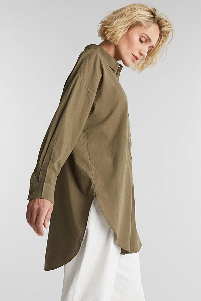 EarthColors® long blouse, organic cotton, OLIVE, overview