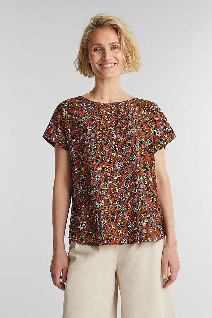Blouse top made of LENZING™ ECOVERO™, RUST BROWN, detail image number 0