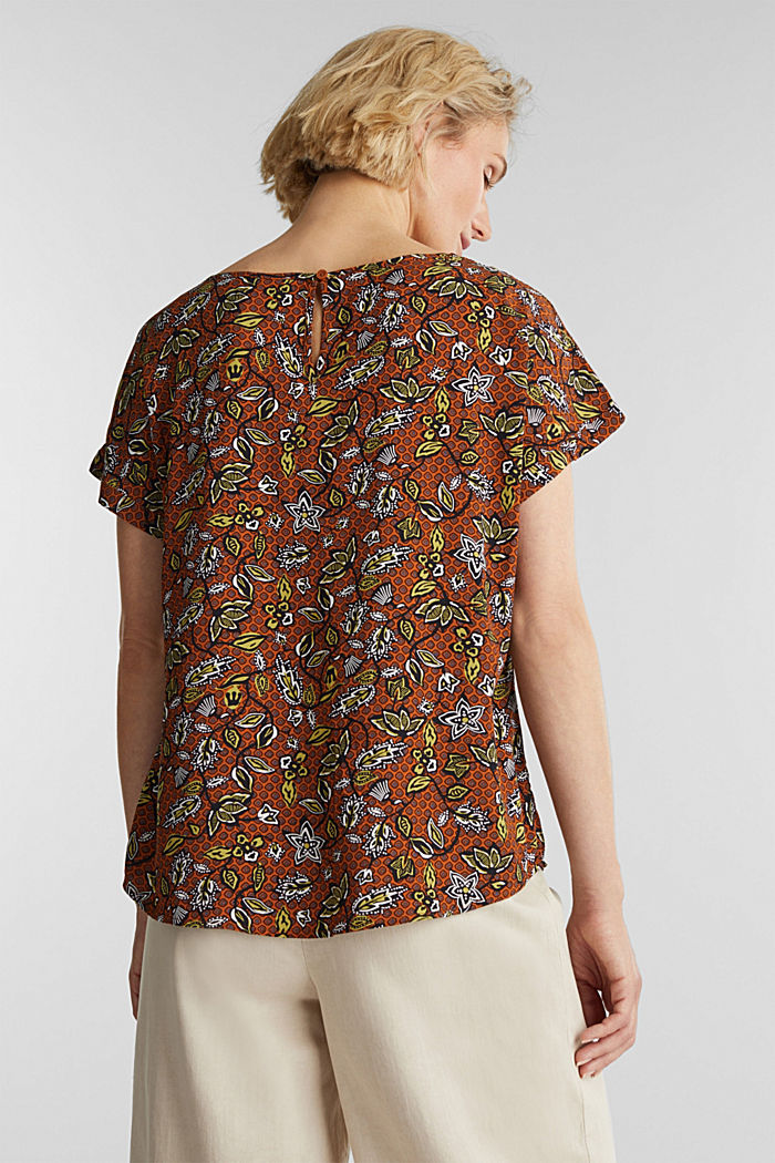 Blouse top made of LENZING™ ECOVERO™, RUST BROWN, detail image number 3