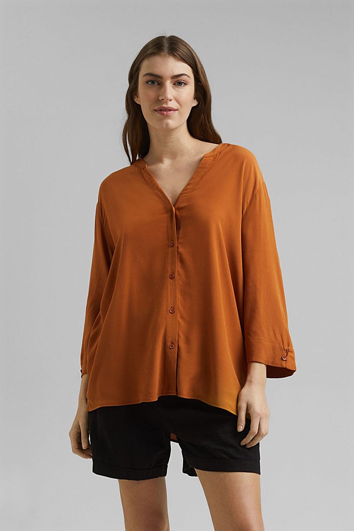 Wide blouse with 3/4-length sleeves, RUST BROWN, detail image number 0
