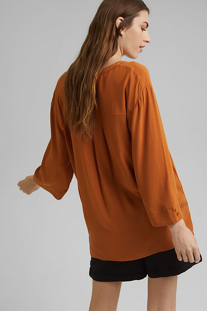 Wide blouse with 3/4-length sleeves, RUST BROWN, detail image number 3