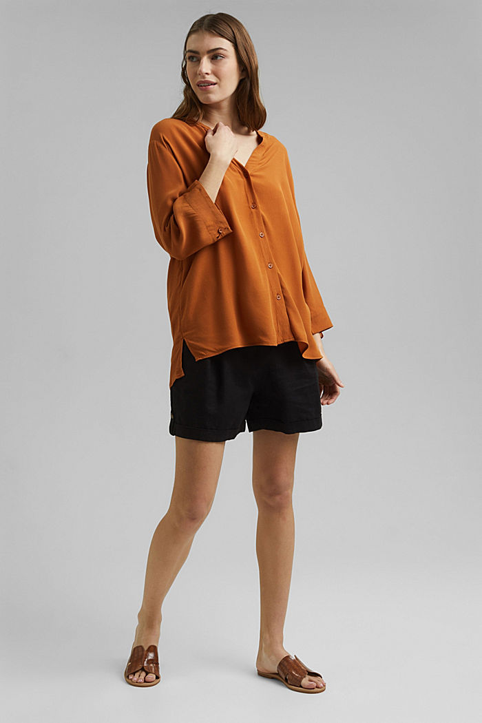Wide blouse with 3/4-length sleeves, RUST BROWN, detail image number 1