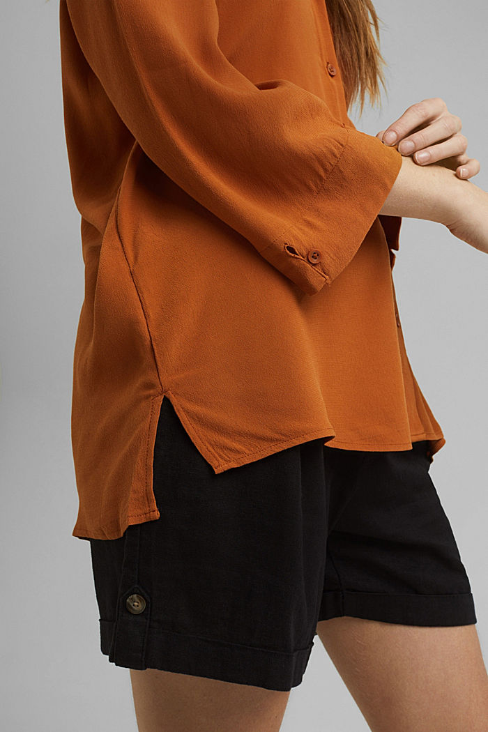 Wide blouse with 3/4-length sleeves, RUST BROWN, detail image number 2