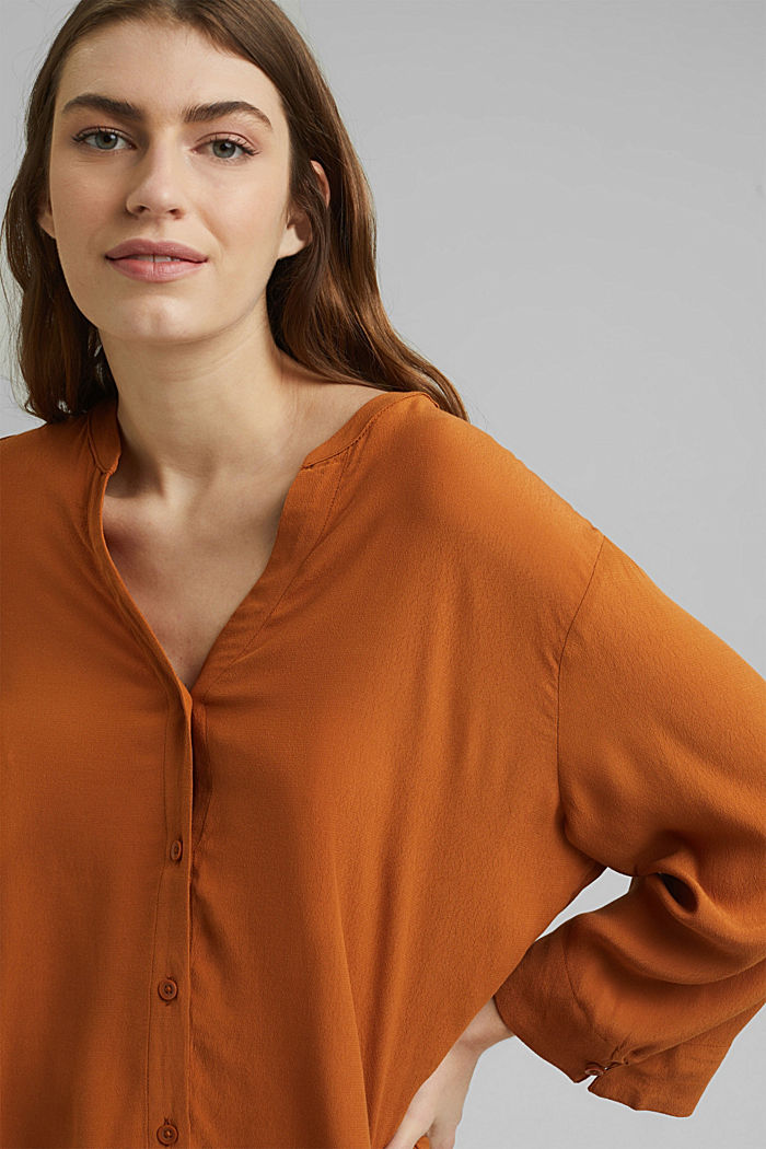 Wide blouse with 3/4-length sleeves, RUST BROWN, detail image number 6