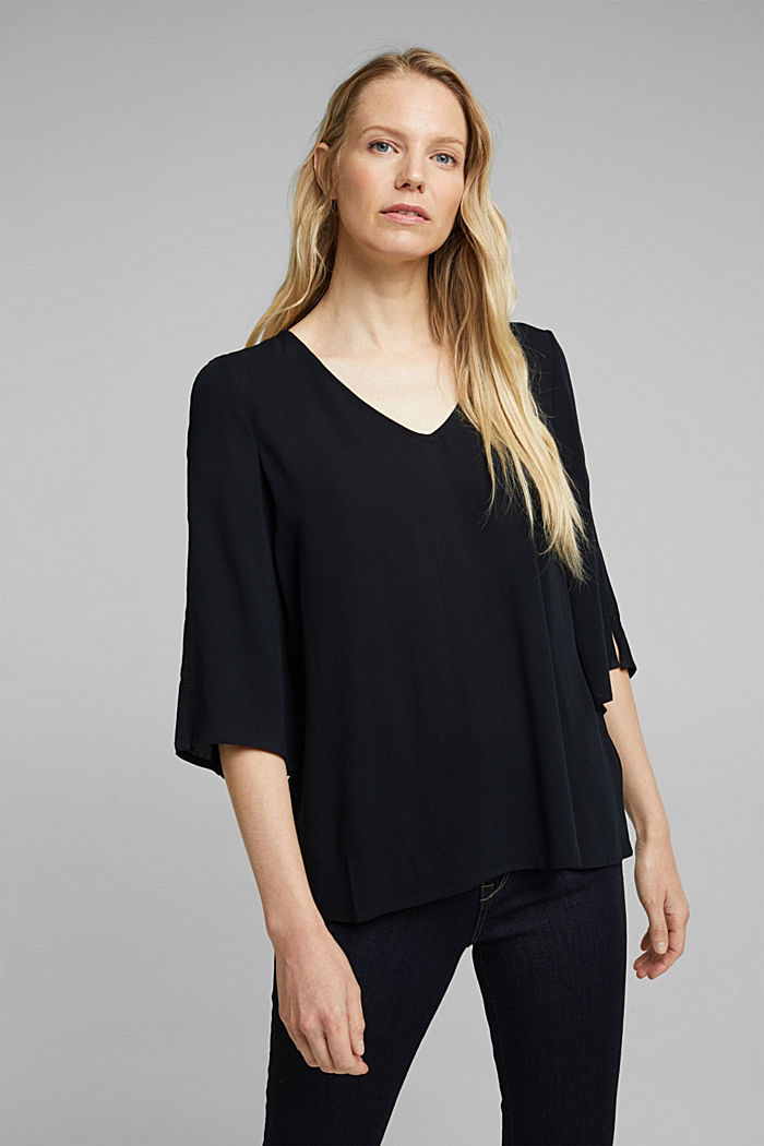 Crêpe blouse containing LENZING™ ECOVERO™, BLACK, detail image number 0