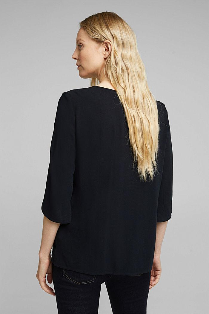 Crêpe blouse containing LENZING™ ECOVERO™, BLACK, detail image number 3