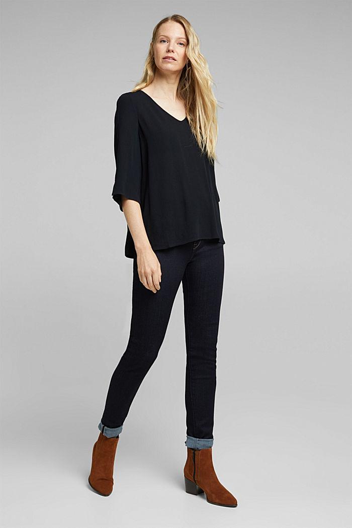 Crêpe blouse containing LENZING™ ECOVERO™, BLACK, detail image number 1