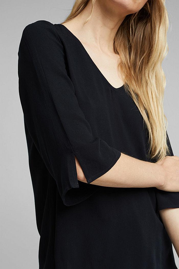 Crêpe blouse containing LENZING™ ECOVERO™, BLACK, detail image number 2