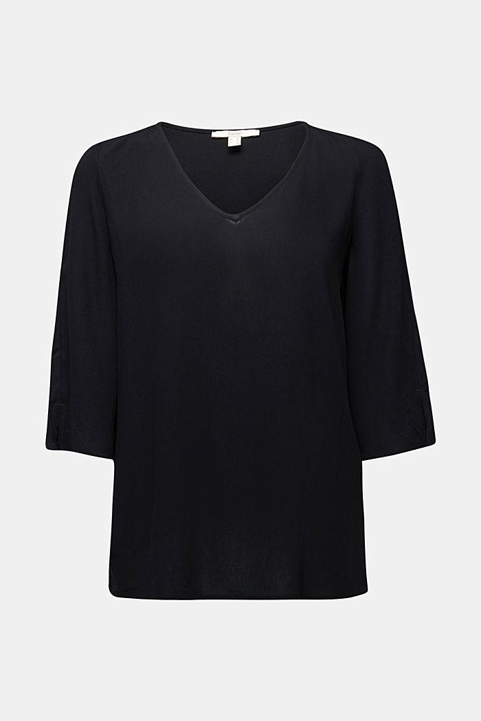 Crêpe blouse containing LENZING™ ECOVERO™, BLACK, detail image number 5