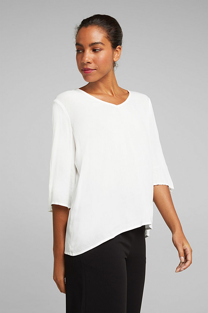 Crêpe blouse containing LENZING™ ECOVERO™, OFF WHITE, detail image number 0