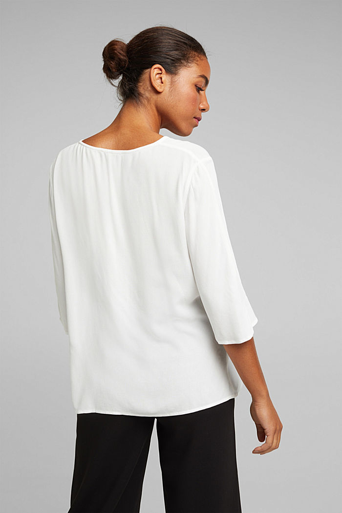 Crêpe blouse containing LENZING™ ECOVERO™, OFF WHITE, detail image number 3