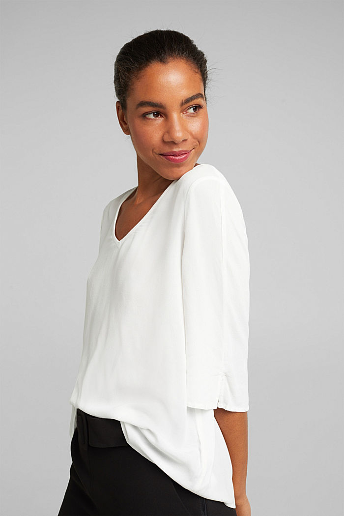 Crêpe blouse containing LENZING™ ECOVERO™, OFF WHITE, detail image number 5