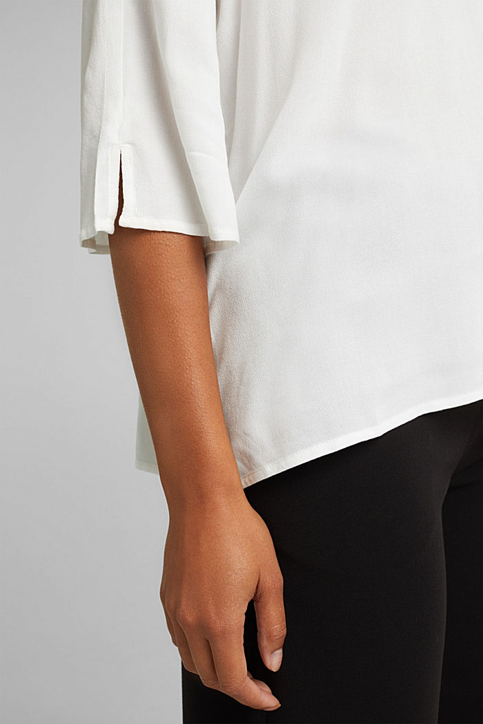 Crêpe blouse containing LENZING™ ECOVERO™, OFF WHITE, detail image number 2