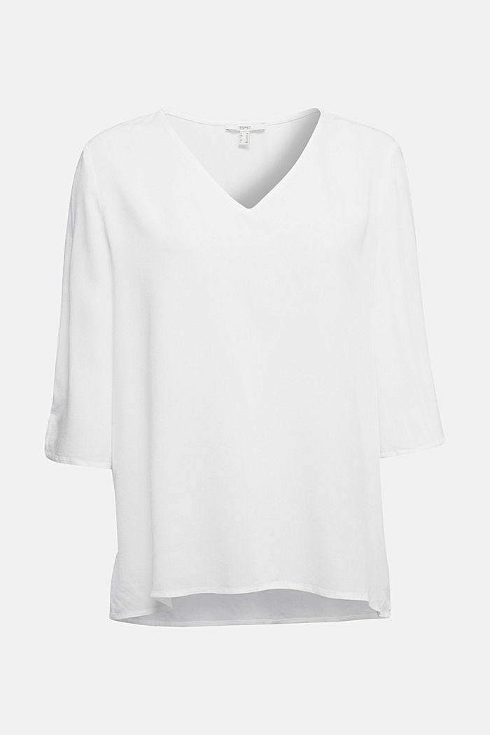 Crêpe blouse containing LENZING™ ECOVERO™, OFF WHITE, detail image number 6