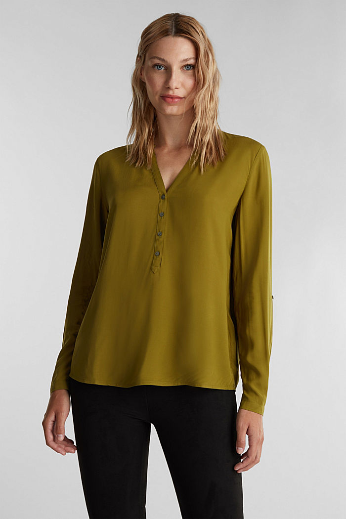 Henley blouse made of LENZING™ ECOVERO™, OLIVE, detail image number 0